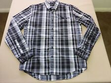 026 MENS NWOT BLAQ BLACK / WHITE / SKY BLUE CHECK L/S SHIRT MEDM $110.