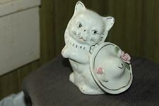 Beautiful Hand Painted Porcelain/Ceramic White Cat With Hat And Flowers  Japan
