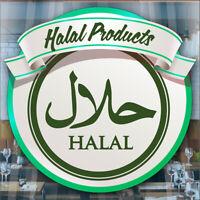 Halal Food Served Here Takeaway Window Cafe Shop Restaurant Sticker Sign Decal