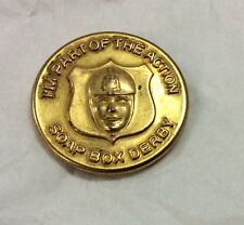 "Vintage 1950's Soap Box Derby ""I'm a Part of the Action"" brass pin excellent"