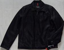New Mens DOCKERS Black Premium Finish Faux Leather Bomber Jacket Size M $180