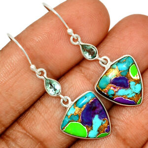Multi Copper Turquoise & Blue Topaz 925 Sterling Silver Earring Jewelry AE158504