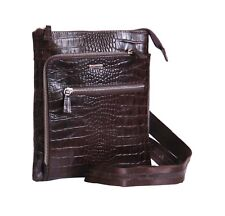 New Real Leather Crossbody Messenger Bag ipad Tablet Brown Croc Print Unisex Bag