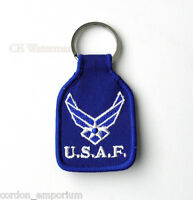 USAF US AIR FORCE WINGS EMBROIDERED KEY CHAIN RING 1.75 X 2.75 INCHES