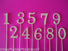 1 Rhinestone Crystal Silver Wedding Table Number Birthday Cake Topper Cupcake