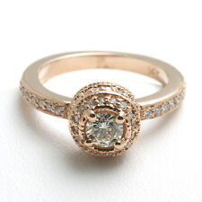 NEW 14k rose pink gold Diamond Engagement Ring Halo 3/4 carat Round pave WOW!