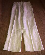 Mens Solitude Linen Blend Pants Flat Front Khaki Stone Size Small Drawstring