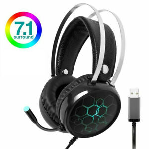 Gaming Headphone Stereo Surround 3.5mm Wired Gamer LED Headset Earphones Mic PS4