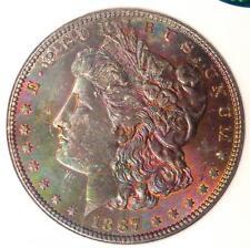 1887 Toned Morgan Silver Dollar $1 - NGC MS63 CAC - Nice Rainbow Toning!