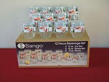 11 SANGO SILENT NIGHT GLASS TUMBLER OLD FASHION ROCK ICED TEA  XMAS LIBBEY BOX