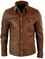 Chemise homme Veste marron Véritable chemise en cuir ciré véritable doux