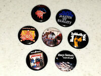 7 Buttons 1 Inch Pin Black Sabbath Ozzy First Years Album Covers Vol. 4 - LOT A