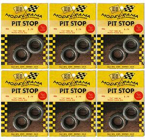 "6pr 1965 K&B Aurora 1:24 Slot Car Pit Stop Parts 1 1/8"" GERMAN SLICK TIRES #406"