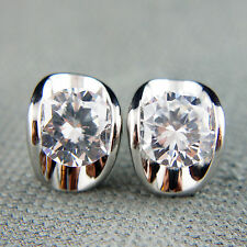 18k white Gold GF Diamond simulant stud crystals earrings