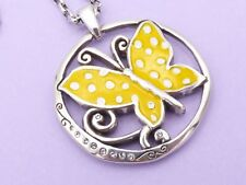 BRIGHTON Silver Pendant Necklace SUNNY WINGS Yellow Butterfly