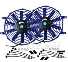 "2X 12"" Slim/Thin 12V Push/Pull Electric Radiator/Cooling Fan Blue+Mounting Kit"
