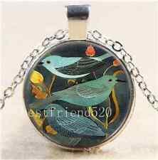 Beautiful Bird Photo Cabochon Glass Tibet Silver Chain Pendant Necklace