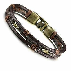 """Mens Vintage Braided Leather Wrist Band Brown Rope Cuff Bracelet Bangle 8"""" inch"""