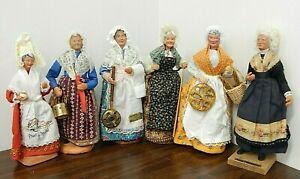 "Lot of 6 Hand-Made 9-10"" Santon d'Argile French Peasant Dolls or Similar"