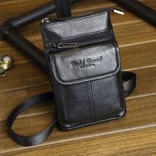 Men's Genuine Leather Hook Shoulder Messenger Belt Hip Bum Fanny Pack Waist Bag