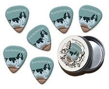 Cada perro tiene es día Spaniel Martin Wiscombe 6 X Púas de Guitarra en Lata Vintage R