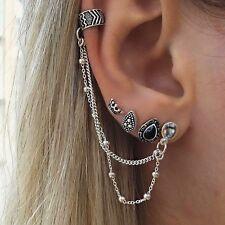 Fashion Crystal Clip Ear Cuff Stud Women's Punk Wrap Cartilage Earring Jewelry