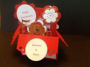 Handmade card  Pop up card flowers in Basket design Numbered Anniversary design