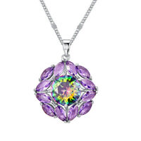 Dazzing Fashion Pendant Rainbow Topaz Peridot Amethyst Gemstone Silver Necklace