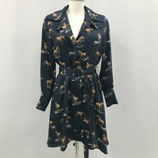New Sfera Collection Belted Dress Womens Size UK M Navy Blue Horse Print 290368