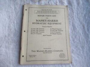 Massey Harris 22 44 30 55  tractor hydraulic equipment parts catalog manual book
