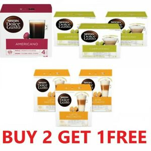 NESCAFE DOLCE GUSTO COFFEE PODS CAPSULES - BUY ANY 2 BOXES & GET 1 FREE UK POST