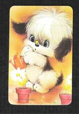 #915.033 Blank Back Swap Card -MINT- Dog with watering can & a bee on its nose