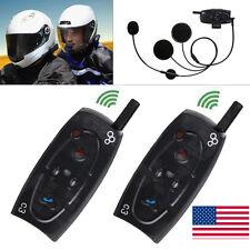 2 x 1000M BT Bluetooth Motorcycle Helmet Interphone Intercom Headset FM Radio