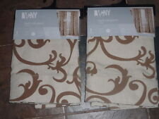 """VCNY CORTINA BRANDY FAUX VELVET TEXTURE BEIGE/TAUPE 84"""" CURTAIN PANEL PAIR  NEW"""