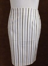 Jupe CAROLL  T38 - Jupe droite blanche et grise rayée (1607011)