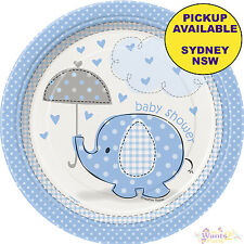 BLUE ELEPHANT UMBRELLA BOY BABY SHOWER PARTY SUPPLIES 8pk SMALL PAPER PLATES