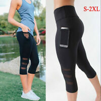 Running Sports  Fitness High Waist  Leggings  Side Pocket Cropped Yoga Pants