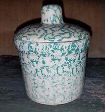 Robinson Ransbottom GREEN Spongeware 1 Pint Low Jar w/ Lid Roseville OH USA