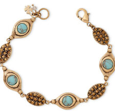 Lucky Brand Gold Tone Faux Turquoise Bead & Crystal Flex Bracelet NEW