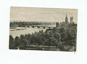 POSTCARD EARLY PRINTED THE THAMES AT WESTMINSTER, LONDON.