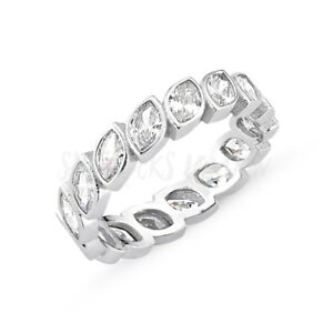 RHODIUM PLATED 925 SILVER ETERNITY RING - 5mm MARQUISE CUT CUBIC ZIRCONIA