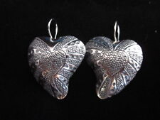 pure Silver Hearts couple auc414 Handcrafted Earrings Hill tribe karen Fine