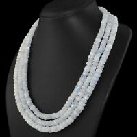 Amazing 3 Strand 750.00 Cts Natural Unheated Blue Flash Moonstone Beads Necklace