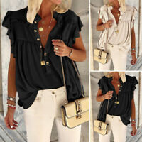 Womens Ruffle V-Neck Vest Blouse Ladies Summer Sleeveless Tops Sexy Tee Shirt