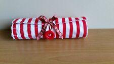 Makeup travel brush roll red white stripes Australian Handmade NEW cotton