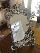 Art Noveau Ornate Silver Plated Free Standing Ladies Boudoir Mirror