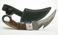 "Damascus Steel Sickle Knife #21 W/4,5"" Blade w/Hook & Handle. Leather Sheath New"