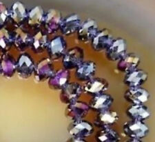 Diy Jewelry Faceted 100pcs 4x6mm Rondelle glass Crystal Beads Purple  AB