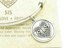 Wind & Fire Sis Sister Heart Silver Charm Wire Bangle Stackable Bangle Bracelet