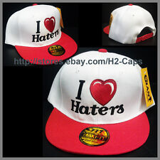 I LOVE HEART HATERS Snapback hat cap WHITE HAT WITH RED VISOR BRIM